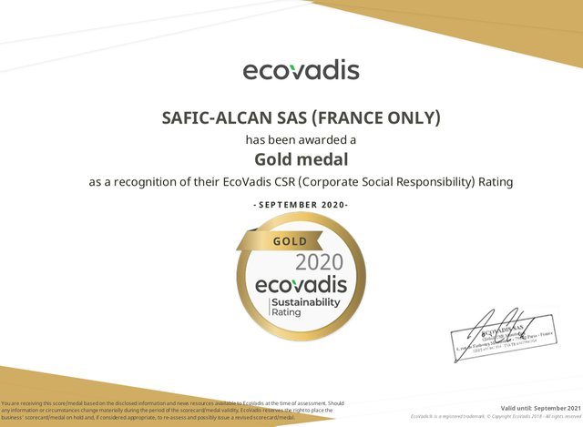 Safic-Alcan France achieves Gold rating  for its 2020 EcoVadis ESG Assessment