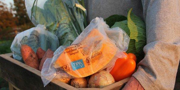 Flexible food packaging that decomposes like orange peel set