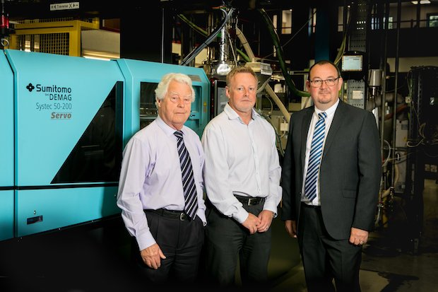 Mitre Plastic's Neil Breckon left, Michael Breckon centre with Sumitomo (SHI) Demag's Northern Area Sales Manager Ian Jobling.jpg