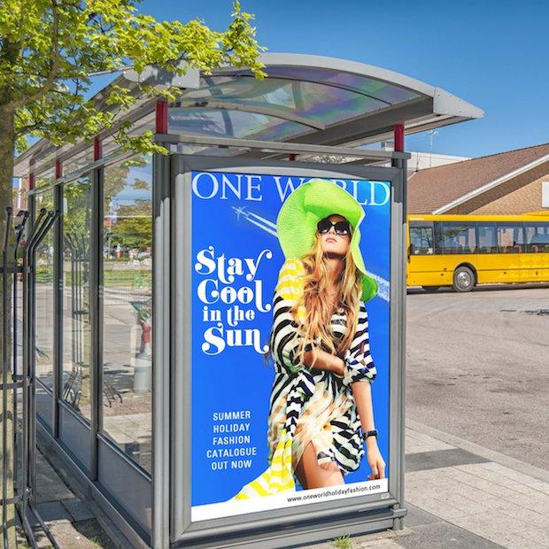 Blank Bus Stop Billboard Mockup