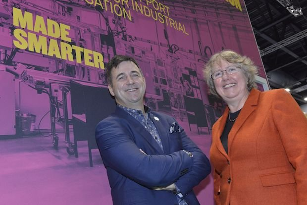 Siemens' CEO Juergen Maier, and Donna Edwards from Made Smarter North West, at the launch in Liverpool.jpg