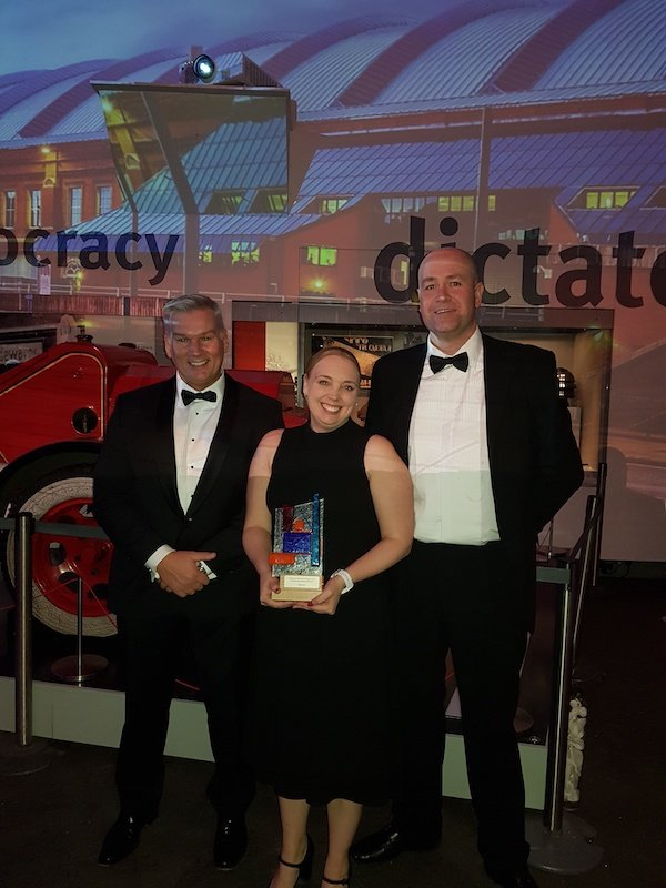 From L-R - Bitrez's Managing Director, Paul Jones;  Senior Administrator, Wendy Howarth and Resin Sales Manager, Dominic Hopwood at Chemicals Northwest awards.jpg