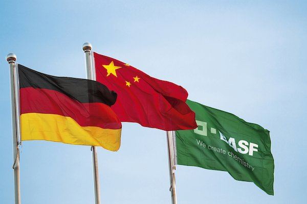 Flags at a BASF plant in China