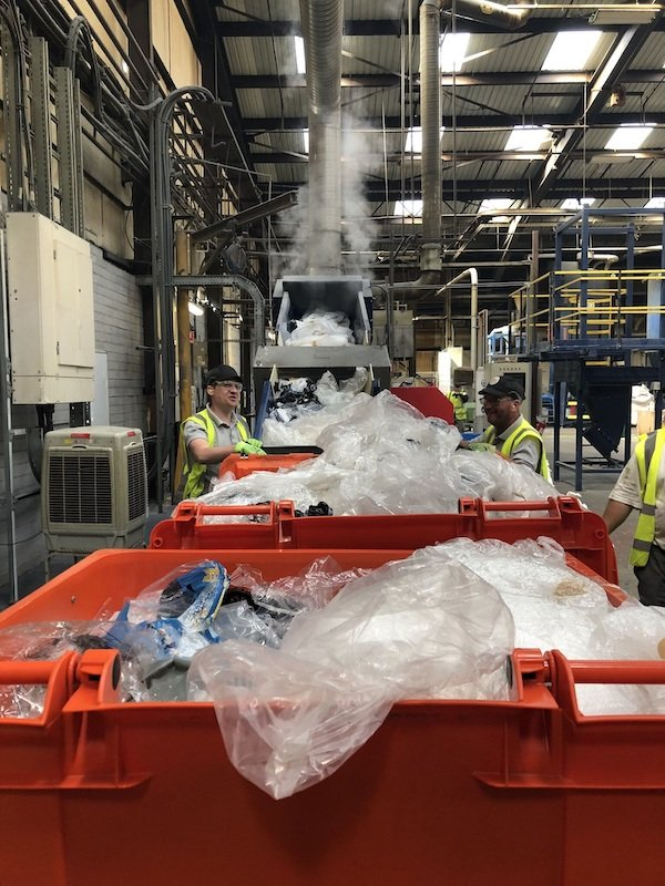Plastic waste from VOR being recycled at Rhymney site.jpg