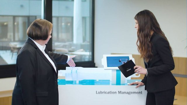 Dr. Mandy Wilke explains Lubrication Management Technology.JPG